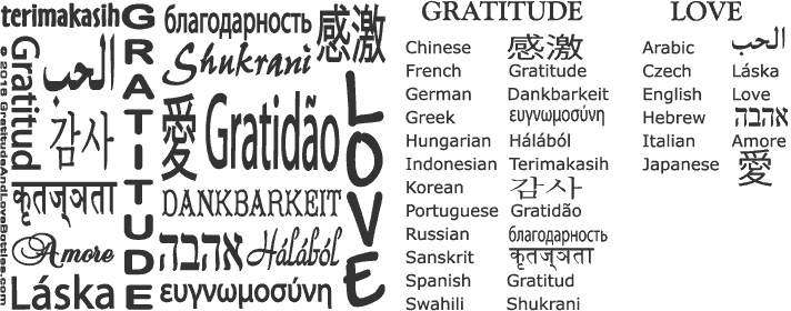 Gratitude And Love design with Languages